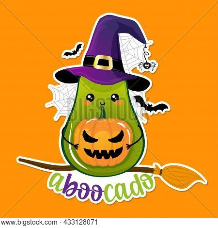 Aboocado (a-boo-cado Pun) - Avocado Character In Witch Costume With Pumpkin Lantern, Broom And Witch