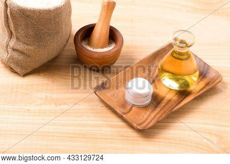 White Rice Seed And Rice Bran Oil In Bottle And Unmilled Rice On Table, Good Fats For Healthy Food