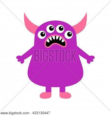 Monster Icon. Happy Halloween. Sad Face Head. Eyes, Horns, Fang Tooth. Cute Cartoon Boo Spooky Chara