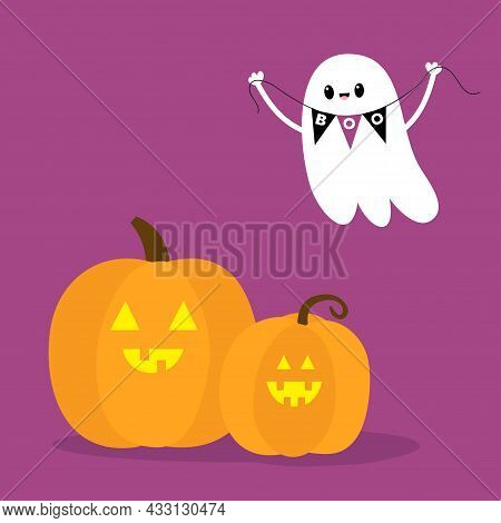 Flying Ghost Spirit Holding Bunting Flag Boo. Two Pumpkin Set. Happy Halloween. Scary White Ghosts.