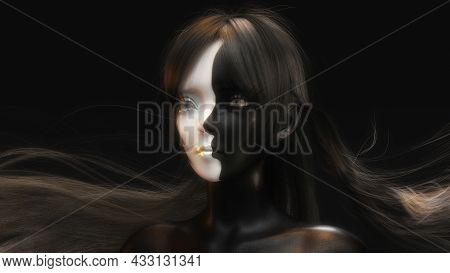 Artistic 3D Illustration Of A Face