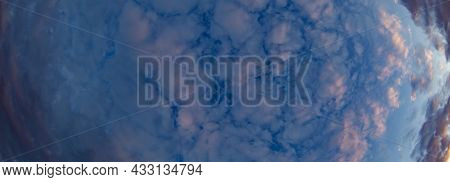 Banner Beautiful Thick Blue Clouds With Pink Veins. Mystical Sky.
