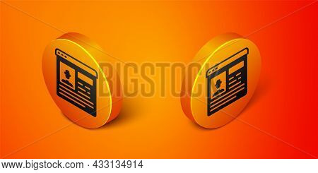 Isometric Resume Icon Isolated On Orange Background. Cv Application. Searching Professional Staff. A
