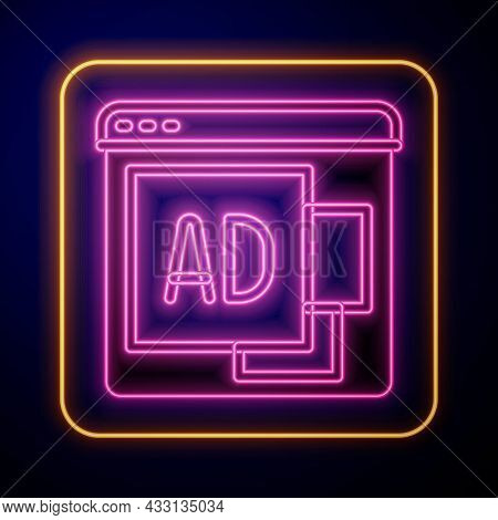 Glowing Neon Advertising Icon Isolated On Black Background. Concept Of Marketing And Promotion Proce