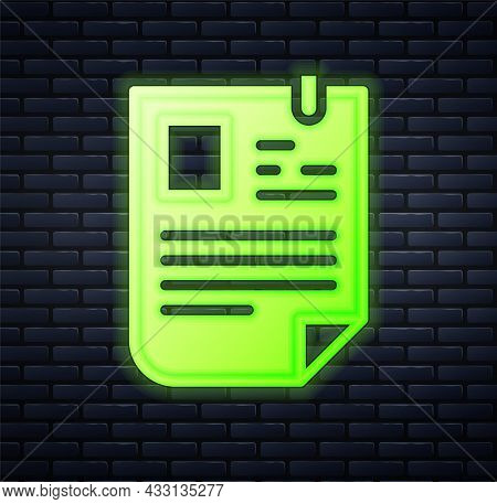 Glowing Neon Resume Icon Isolated On Brick Wall Background. Cv Application. Searching Professional S