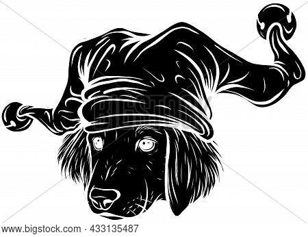 Dog In A Joker Hat. Vector Illustration.