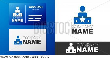 Logotype Actor Star Icon Isolated On White Background. Logo Design Template Element. Vector