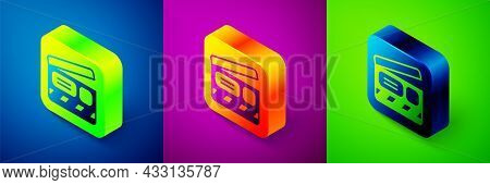 Isometric Movie Clapper Icon Isolated On Blue, Purple And Green Background. Film Clapper Board. Clap
