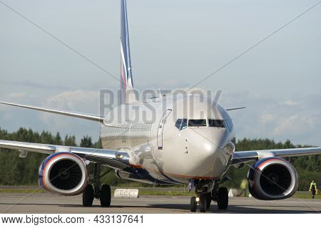 Russia. Saint-petersburg. An Aeroflot Plane At Pulkovo Airport. Aviation Industry Infrastructure. Pa