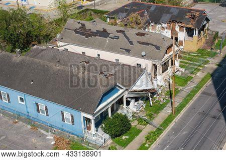 New Orleans, La - September 11: Aerial View Of Houses Damaged By Hurricane Ida In Uptown Neighborhoo