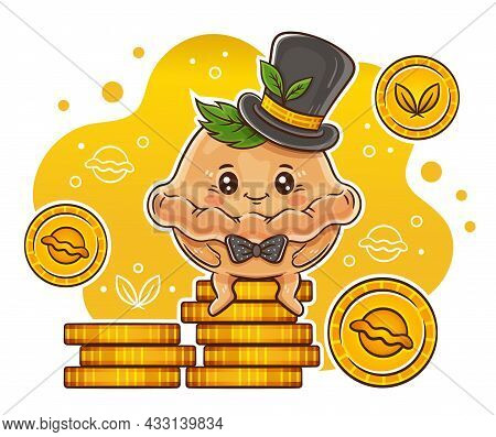 Cute Dumpling Businessman. Rich Pelmen Or Dough Bun In Gentleman Hat Sitting On Pile Gold Coins. Rav