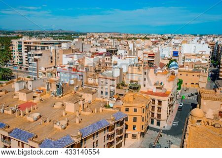 aerial view of the old town of Elche, in the Valencian Community, Spain
