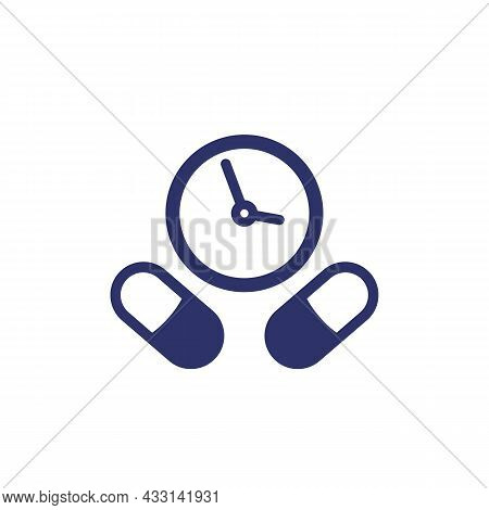 Medication Time, Schedule Icon With Pills, Vector