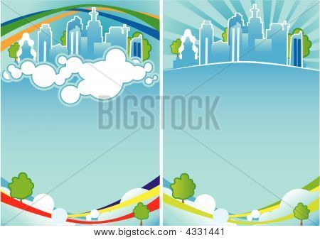 City poster. without gradient mesh. Vector illustration. poster