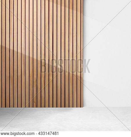 Empty minimal room with wood paneling wall