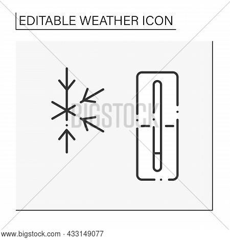 Thermometer Line Icon. Frozen Weather Outside. Nice Winter Day. Frigid Temperature. Cold And Frosty