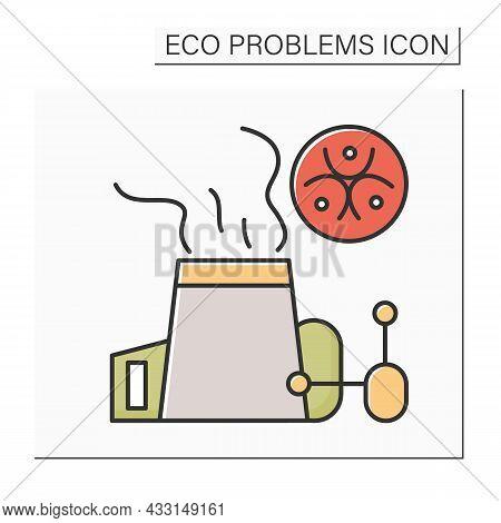 Carbon Emissions Color Icon. Power Plant Chimney With Bio Hazard. Concept Of Hazardous Accidents, Gr