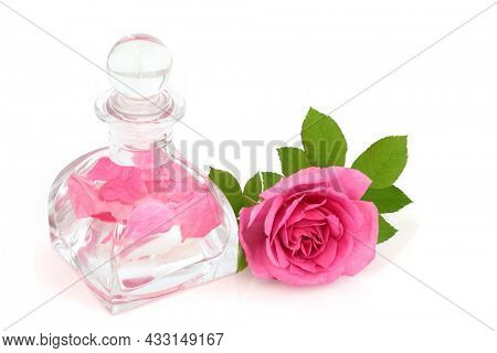 Rose water in art deco glass bottle with flower. Maintains skin pH balance, is anti bacterial, reduces redness of skin, treats acne, dermatitis and eczema, aids healing of wounds. On white.