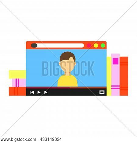 Online Education Technology Vector Illustration Computer School Student Icon. Learning Online Educat