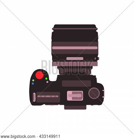 Professional Dslr Photo Camera Top View Accessories Vector Illustration In Flat Style.
