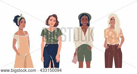 Set Of Young Stylish Women Or Girls. Feminist Activists. Flat Characters. Isolated On White Backgrou