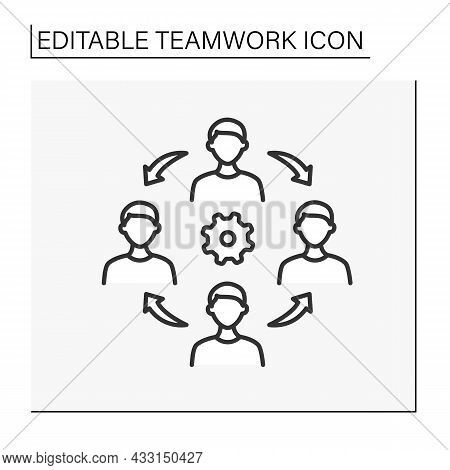 Cooperation Line Icon. Cooperation Mechanisms Between Workers. Discussion, Collaboration, Common Pro
