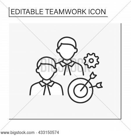 Target Line Icon. Common Goals For Achieving. Two Men Working Hard. Effective Work Process. Teamwork
