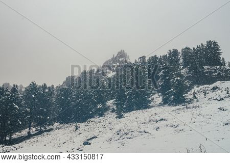 Scenic View Through Snowfall To Snowy Hill With Coniferous Trees And Pointy Pinnacle. Firs In Snowst