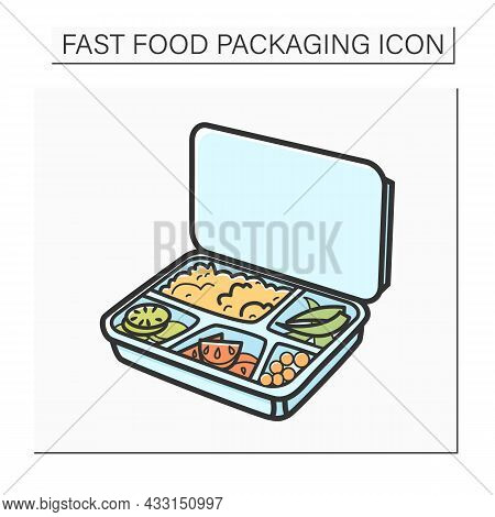 Lunchbox Color Icon.container Filled With Rice, Tomato, Boiled Egg And Asparagus.disposable Box With