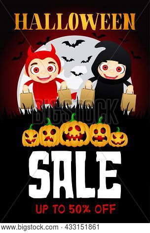 Halloween Sale Poster With Funny Scary Pumpkins. Funny Kids In Halloween Costumes Devil And Grim Rea