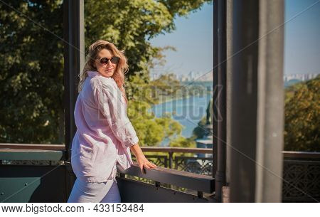 Plus Size European Or American Nice Woman At City, Enjoy The Life, Walks. Life Of People Xl Size, Ha