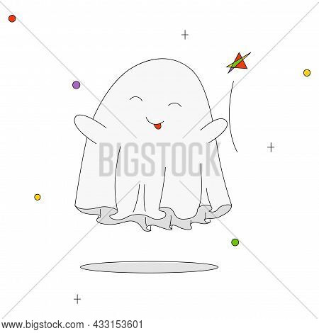 Vector Drawing. Ghost, A Ghost That Hovers Above The Ground