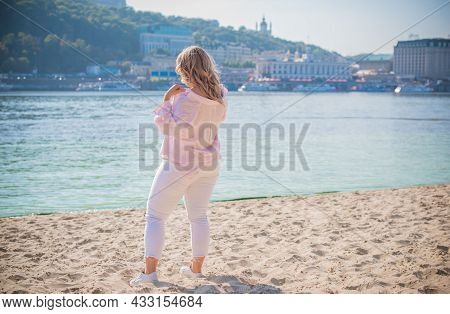 Plus Size European Blonde Woman At Beach, Vacation, Enjoy The Life, Walks. Life Of People Xl Size, H