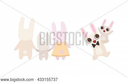 Cute Hare Family With Mother, Father And Cub Holding Paw And Playing Vector Set