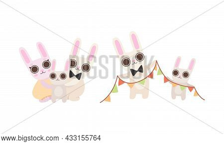 Cute Hare Family With Mother, Father And Cub Holding Garland And Embracing Vector Set