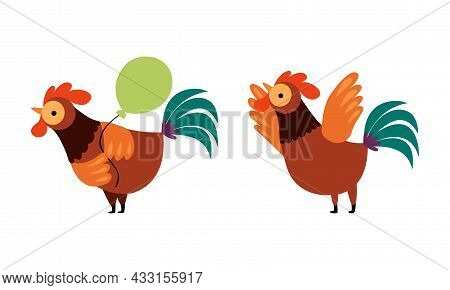 Rooster Or Cock Character Flapping Wings And Holding Balloon Vector Set