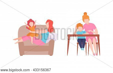 Woman Parent Bringing Up Kids Doing Homework With Son And Playing With Daughter On Armchair Vector S