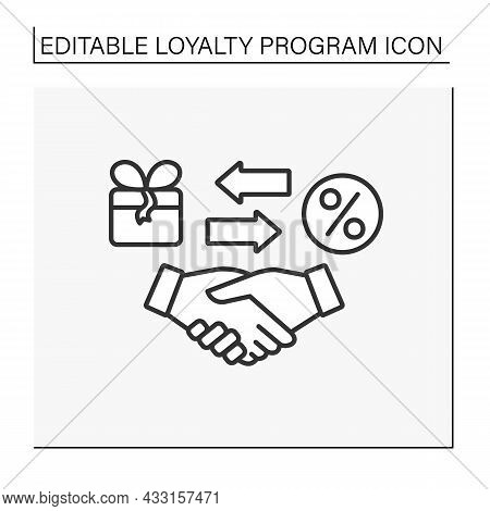 Offer Line Icon. Deal Between Brand And Customer. Handshake. Present Box And Discount For Customers.