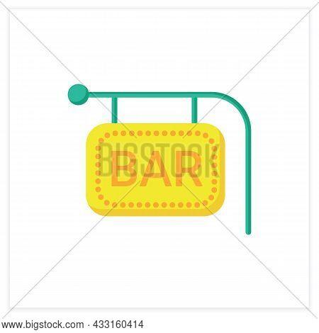 Bar Sign Flat Icon. Bright Neon Signboard. Advertisement, Pointer. Night Luminous Billboard. Cocktai