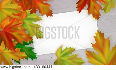 Autumn Yellow, Red And Green Maple Leaves On A Wooden Background. Autumn Poster With Realistic Autum