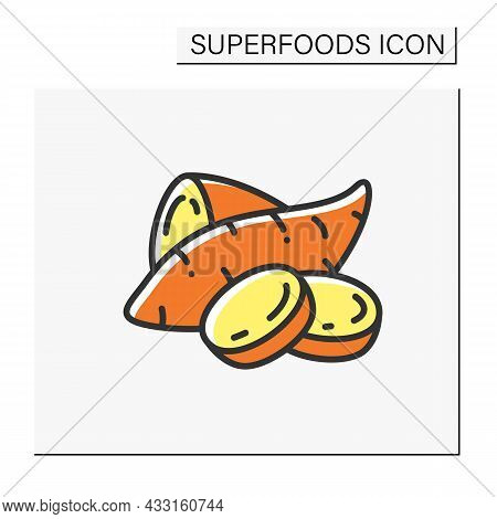 Sweet Potatoes Color Icon. Superfood. Organic Healthy Energetic Food For Balanced Nutrition. Detox A