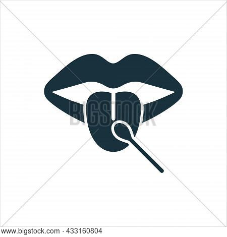 Laboratory Research Of Mouth Saliva Swab Silhouette Icon. Dna Test For Paternity Pictogram. Coronavi