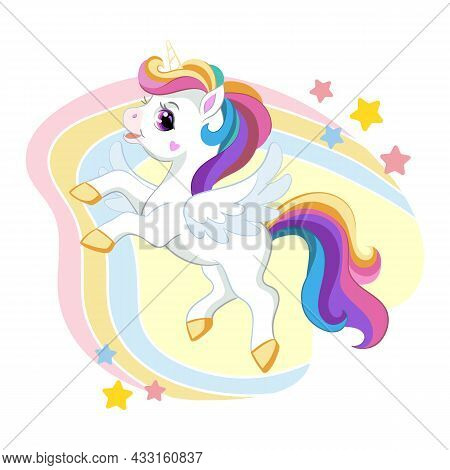 Cute Cartoon Unicorn With Long Mane And Wings On A Rainbow Background With Stars. Vector Isolated Il