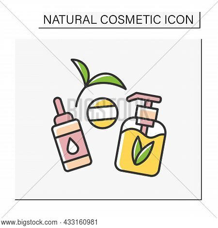 Beauty Procedure Color Icon. Serum And Gel For Face Care. Facial Cosmetology For Cleaning And Moistu