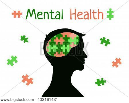 Mental Health Concept. Puzzle In Brain Of Man. Male Head Silhouette Profile. World Mental Health Day