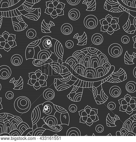 Seamless Pattern With Light Contour Cartoon Fun Turtles, Flowers And Fish, Outline Animals On A Dark