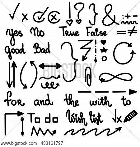 Black Check Mark Hand Drawn Tick V X Yes No Ok Sign Vector Illustration. Checkbox Chalk Icon Sketch