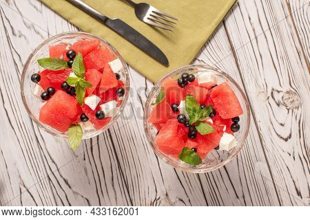 Summer Organic Salad With Watermelon, Feta Cheese, Black Currant And Mint. Light Dietary Breakfast.
