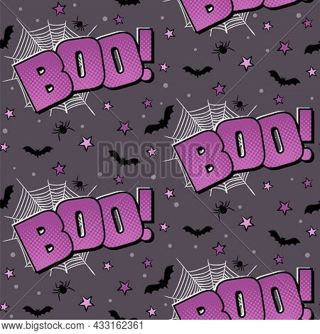 Boo Comic Logo. Halloween Purple Seamless Pattern. Cartoon Background With Bat, Spider, Web And Star