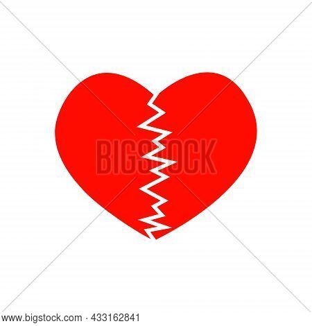 Red Cracked Heart Icon. Symbol Of Heartbreak, Infarct, Heart Disease, Divorce, Parting Isolated On W